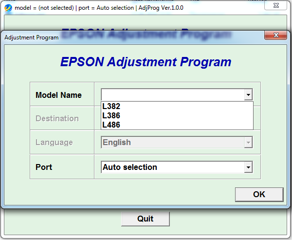 Adjustment program Epson L382 L386 L486
